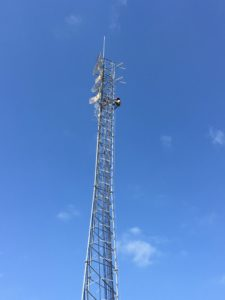 A tower crew working on the 120 ft tower at my office a few weeks ago.